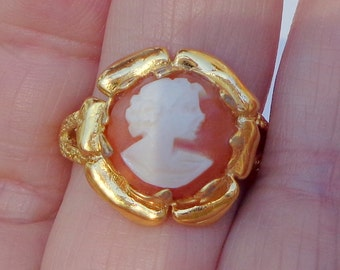 Size Adjustable, Vintage Cameo, New 24K Gold Plate, Sterling Silver Setting, Hand Carved Conch Shell Cameo, OOAK