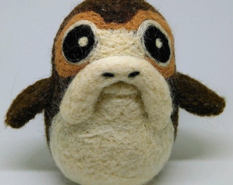Porg - Star Wars Inspired Plushie - Needle Felted Wool - Desk Companion - Handmade, Unique, OOAK - Free Shipping Worldwide