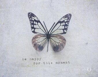 Be Happy for this Moment, Butterfly Wall Art, Whimsical Girl Decor, Purple Wall Decor, Gray Wall Art, Purple Butterfly, Happiness Art