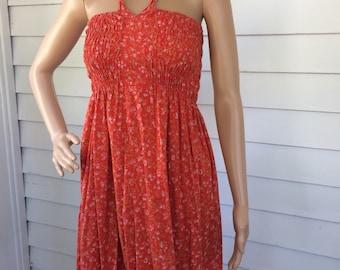 Red Summer Dress Smocked Floral Vintage 70s Sun XS