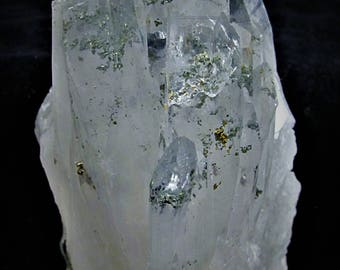 Quartz rock crystal with pyrite phanthom