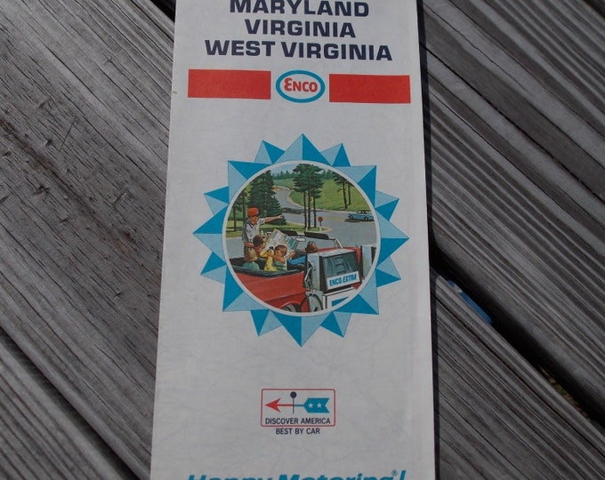 Vintage road map from Esso of Maryland Delaware Virginia and West Virginia from 1968
