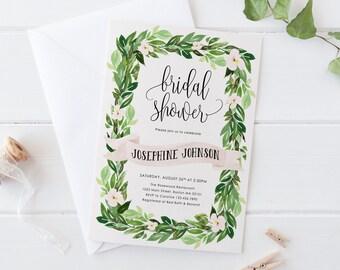 Garden Bridal Shower Invitation, Printable Shower Invitation, Greenery Bridal Shower Invite, Botanical DIY Invites, Green Leaves and Flowers