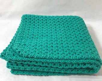 Lap Blanket, Office chair throw, Wheelchair lap cover, Couch throw, Crocheted,Turquoise  color, Home decor