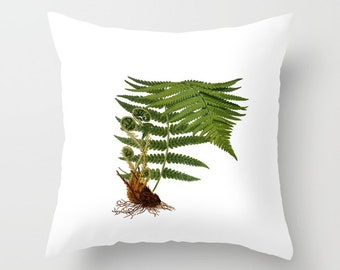 Green Fern Throw Pillow Cover with pillow insert, Indoor, Outdoor, Plant, Botanical, Illustration, Vintage, Gift, Green, White, Home decor