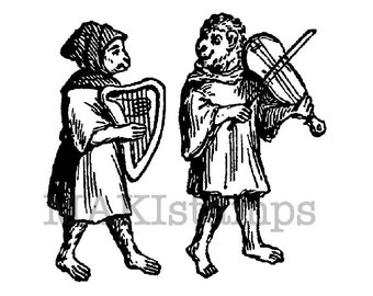 Circus stamp / Monkeys as musicians / Medieval rubber stamp (140411)