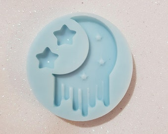 Silicone Mold Moon Casting with starlets/melted moon with stars Silicone mold