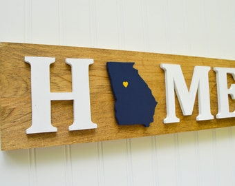 """Georgia Tech Yellow Jackets """"State Heart"""" Home Sign - Handcrafted wood with official team colors"""