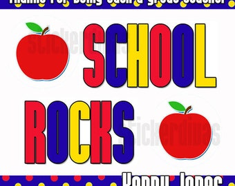 Personalized School Rocks Thank You Stickers with Apple
