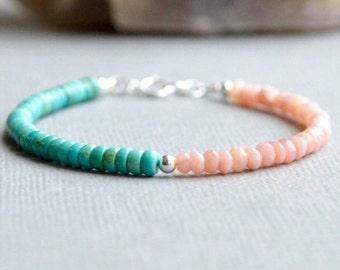 Peruvian Pink Opal and Turquoise Bracelet Boho Chic Stacking Bracelet Gemstone Bracelet Sundance Style Turquoise and Peach Sterling Silver
