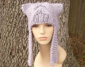 Knit Hat Grey Womens Hat - Dragon Slayer Grey Ear Flap Hat in Pewter Grey Knit Hat - Grey Hat Womens Accessories Winter Hat