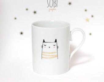"""Mug """"Chat liseré"""" peint à la main"""