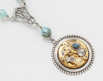 Steampunk Necklace Vintage gold watch movement with blue opal Swarovski crystal beads & silver filigree pendant Victorian Jewelry gift