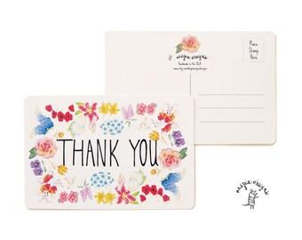 Botanical Flower Thank You Postcard - Handmade