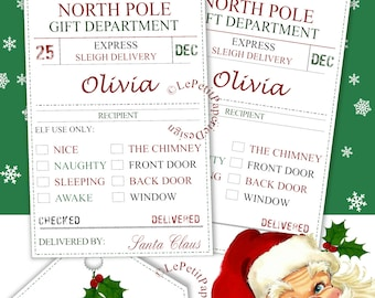 Printable elf report etsy editable santa gift tags printable naughty or nice north pole delivery edit text name check boxes retro fun holiday labels instant download negle Choice Image