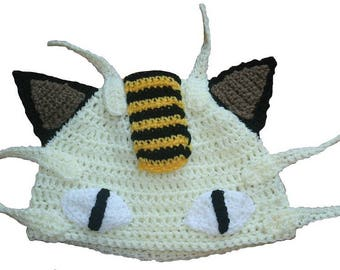 Hand Crocheted Meowth Hat HH033