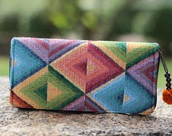 Colorful Triangle Geometric Fabric Womens Wallet    Long Wallet   Purse   Hippie wallet   Vegan Wallet    Cute Wallet    Wallet Womens
