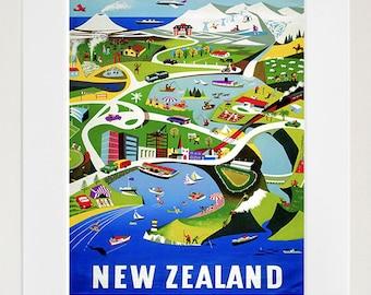 New Zealand Art Vintage Travel Poster Print Home Wall Decor (XR402)