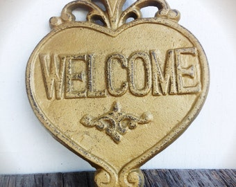 Rustic Gold Welcome Sign Wedding Gift / Outdoor Signs / Mothers Day Gift For Mom / Gift For Her / Entryway Decor / Modern Farmhouse Style