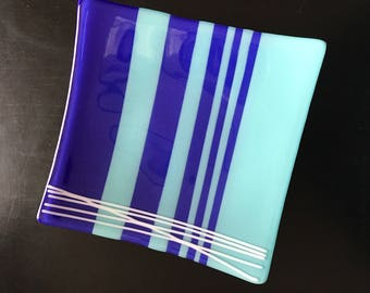 Blue and Turquoise Fused Glass Plate