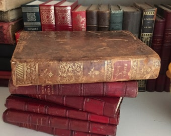 """VERY RARE authentic antic 1783 French book, """"L'enfer"""" by Dante Alighieri (Dante's Inferno) from the Divine Comedy, in French and Italian"""