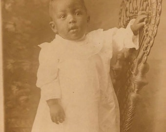 RPPC Real Photo Postcard Adorable Baby on Ornate Chair