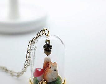squirrel in the woodland story dome necklace - acorn, mushroom, leaf, autumn, moss, glass