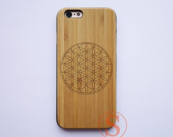 Flower Of Life iPhone case, Wood iPhone 7 case, Mandala iPhone 8 case, iPhone X case, Wood iPhone 7 plus case, Carved Wood case, DK-120