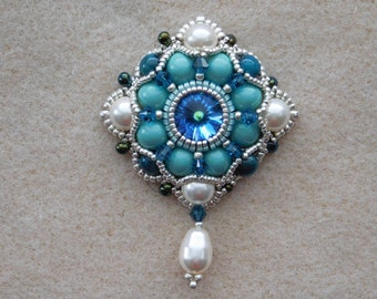 Bead Pendant, Jewelry, Tutorial, Pattern, Instructions, Beadweaving, Necklace, Beaded, Rivoli, Pearl, Swarovski, PDF, Digital Download