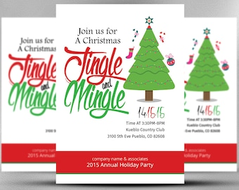 Christmas Office Invitation Card - Office Christmas Party Invitation - Christmas Party Invitation - Photoshop Template - INSTANT DOWNLOAD