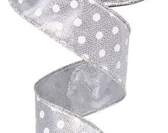 """1.5""""x10yd Polka dot wired ribbon, silver wired ribbon, white wired ribbon, silver and white polka dot wired ribbon, wired ribbon, ribbon"""