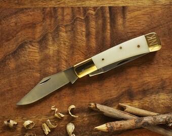 White Bone Pocket Knife - 2 Blade Knife - Personalized Gift For Her - Personalized Gift For Him - Wedding Gift - Wedding Date Roman Numerals