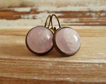 Rosequartz Earrings Bronze