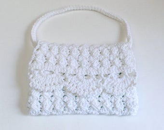 Fancy White Crochet Evening Bag, White Purse, Wedding Purse - Free Shipping Domestic