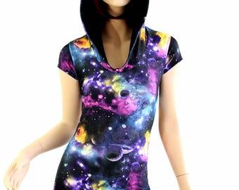 UV Glow Galaxy espace impression Cap manches barboteuse Hoodie w/Black Zen capuche doublure Rave Festival Frédéric 154475