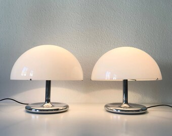 Lovely & Large Mid Century Modern SIDE TABLE LAMPS  Table Lights   Joe Colombo   Gino Sarfatti Era  Set of Two, 1970s