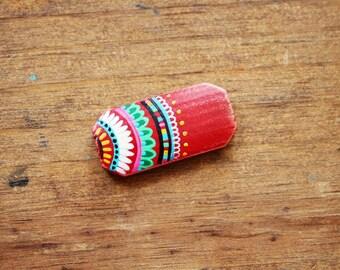 Hand painted Mandala Bracelet Bead on Natural Wood