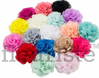 "CHOOSE COLORS 3"" Chiffon Rose Flower, Wholesale Flower, Fabric Flower, Headband Flower, Wedding Flower, Flower Embellishment, Diy Flower"