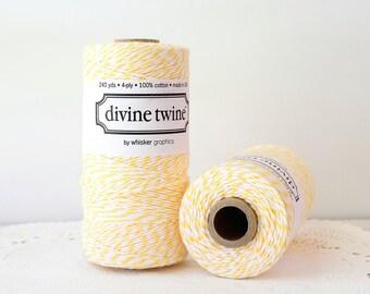 Yellow Bakers Twine, Lemon Yellow Divine Twine, Yellow & White Bakers Twine, Bakers Twine, Yellow Twine, Wedding DIY, Spool of Twine