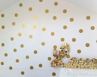 100 Gold Metallic Polka Dot Wall Decals/Wall Stickers, Decoration, Vinyl, Envelope, Car, Office, Home, Nursery Wallpaper, Matte/Gloss