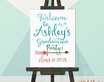 Boho Graduation Party Sign, Graduation Party Decorations, Party Signage, DIY Printable or Printed Poster, Board or Paper. Aqua Gold Pink