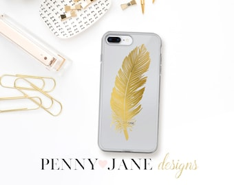 Gold Feather Phone Case for iPhone x, iPhone 7/8, iPhone 7 Plus/8 Plus, iPhone 6/6s, 6 Plus/6s Plus