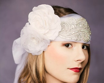 Bridal veil flapper headband silkflowers Gallica Lilian Great Gatsby fingertip veil