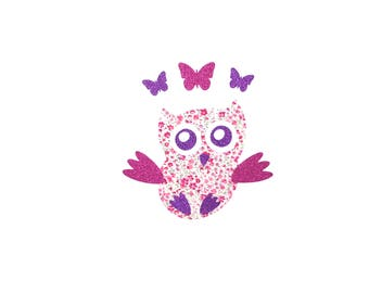 Owl, patch, iron on, applique, butterfly, cotton, Liberty fabric, Phoebe, pink, glitter, sparkle, nursery decor, baby girl,embellish