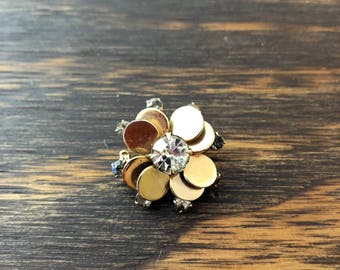 Vtg Vintage 60s Sixties Floral Bronze and Rhinestone Brooch Pin Mod Cute Pretty