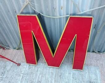 Large Vintage Reclaimed Industrial Letter M