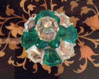 Irice Antique Perfume Bottle Jewel Top Clear Green