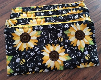 Bees and sunflowers accessory case;  bee pencil case; sunflower pencil case