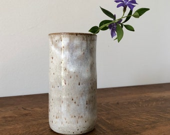 Simple Vessel - Speckle Clay with Vintage White Glaze - Vase, Carafe, Cup