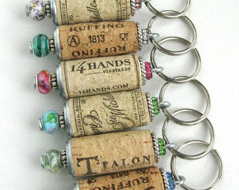 Wine cork keychain, beaded cork keychain, cork keyring, bridesmaids gift, wedding favors